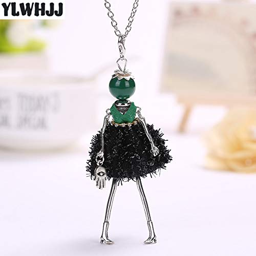 New Women Doll Cute Black Long Necklaces & Pendant | Hot Dress Baby Girls Maximum Necklace | Fashion Statement Jewelry ()