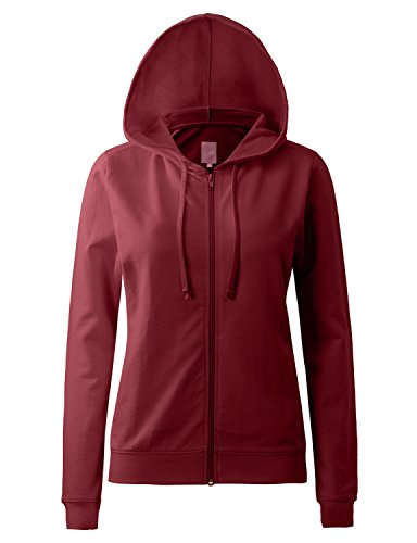 Regna X Womens Long Sleeve Comfy Loose Cotton Full Zip Hoodie Red 2XL