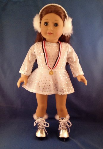 Multiple Silver Sparkle Ice Skating Champion Outfit. Silver Skates, Medal, and Ear Muffs Included. Fits 18 Inch Dolls Like American Girl