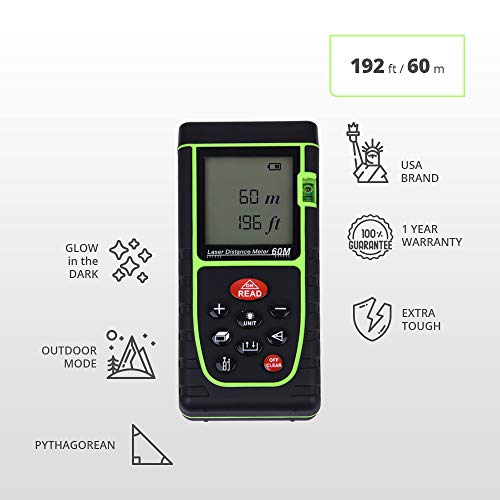 Laser Measure USA Professional 196 Ft Digital Laser Distance Measuring Tape Tool With Electronic Outdoor Settings, Bubble Level and Pythagorean Measurement Modes, Glow-In-The-Dark, and Self-Correcting -