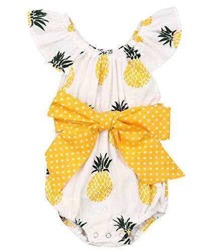 Newborn Infant Baby Girl Clothes Lace Halter Backless Jumpsuit Romper Bodysuit Sunsuit Outfits Set (Pineapple Bowknot Romper, 12-18 Months)
