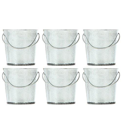 Mini Buckets Galvanized (Hosley Set of 6 Mini Galvanized Buckets - 2.25