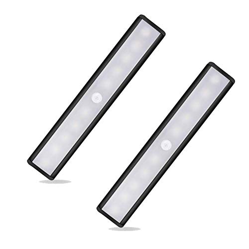 Under Cabinet Lights, 10 LED Bulbs Motion Sensor Cabinet Lights, Night Lights USB Rechargeable Magnet LED Lights, Motion Led Light Bar, Wireless Led Closet Lights Stick on Anywhere 2Pack