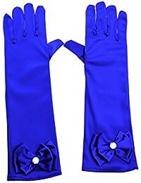 Greenmoe Girls Long Satin Finger Bowknot Formal Pageant Kids Gloves RoyalBlue