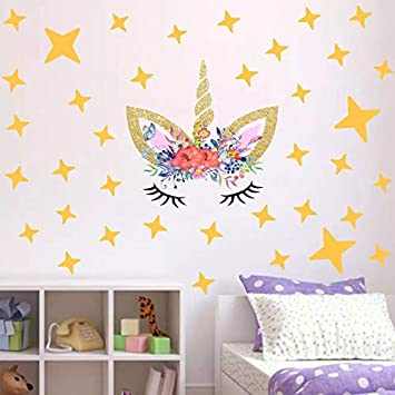 Cocobee Unicorn Wall Stickers Rainbow Colors Wall Decals Reflective Wall Stickers for Girls Bedroom Playroom Decoration Blue Unicorn,Stars and Love Hearts