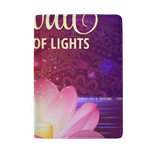 Happy Diwali Leather Passport Holder Cover Travel Card Carrier Case by My Little Nest