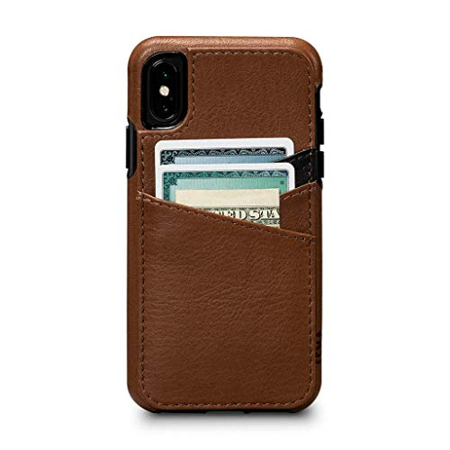 - Sena Cases, Deen Lugano Leather Snap On Wallet for iPhone Xs (Saddle)