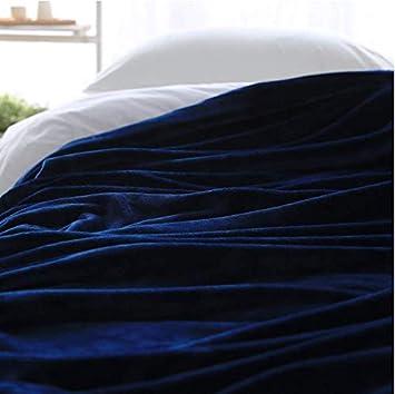 Manta de colcha de franela suave de color liso azul tira ...