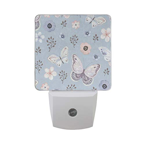 Night Light Butterflies in Flowers Jungle Night Lamp LED Sensor Auto on/Off Led Plug in Wall Lights 2 Pack