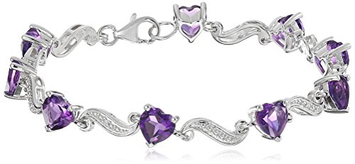 Sterling Silver Amethyst and Diamond Accent Heart Wave Bracelet, 7