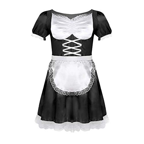 YONGHS Men's Sissy Crossdress Pajamas Outfit Frilly Satin French Maid Uniform Fancy Dress Costume Black 2X-Large
