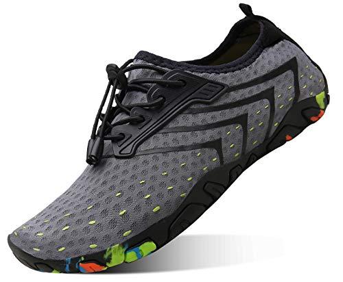 kealux Men Women Barefoot Quick-Dry Water Sports Shoes Multifunctional Sneakers -41(A.Gray)