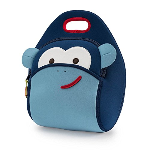 Dabbawalla Bags Monkey Kid's Insulated Washable & Eco-Friendly Lunch Bag Tote Blue Monkey Lunch