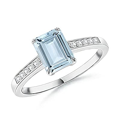 Angara Emerald-Cut Aquamarine Cocktail Ring with Diamond Accents