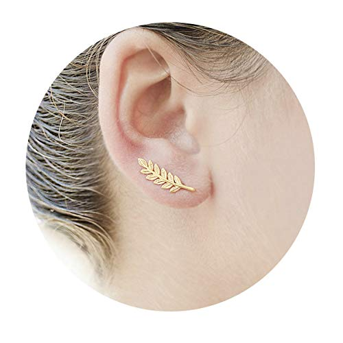 Gold Olive Leaf Ear Climber/Simple Minimal Ear Crawler Stud Earring By Rivertree