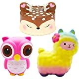 Bestkiy 3 PCS Jumbo Squishies Slow Rising Deer Cake,Rainbow Sheep,Pink Owl Set Kawaii Squishy Cream Scented Squishy Toys Decompression Stress Relieve for Kids and Adults