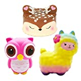 Bestkiy 3 PCS Jumbo Squishies Slow Rising Deer Cake,Rainbow Sheep,Pink Owl Set Kawaii Squishy Cream Scented Squeeze Toys Decompression Stress Relieve for Kids and Adults