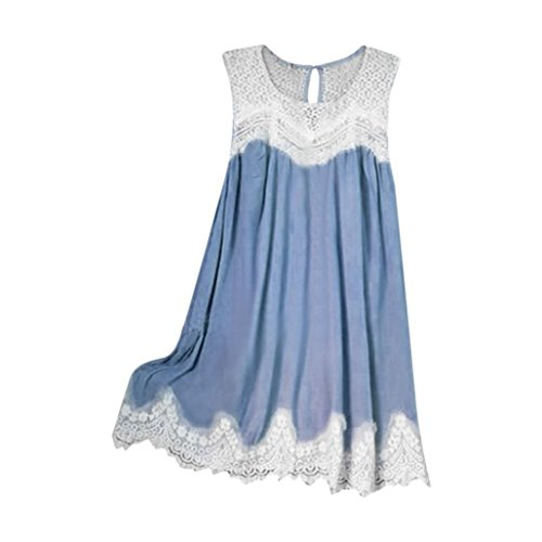 Women Lace Sleeveless Tunic Top Casual Stitching Ruffled Hem Tank Camis Blouse
