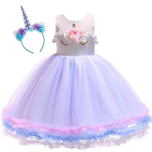 Baby Toddler Girls Unicorn Birthday Mouse Tulle Tutu Dress Sleeveless Princess Fancy Dress Up Costume Wedding Xmas Party Gown S# Flower Purple 7-8 -