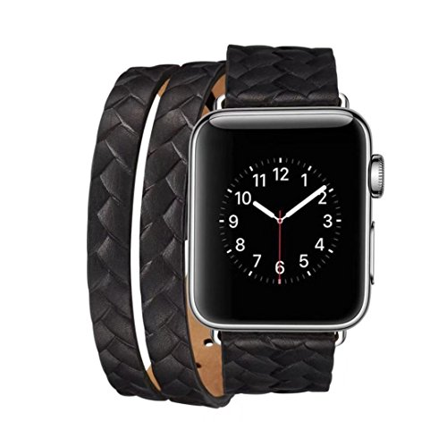 Double Braided Leather - SUKEQ for Apple Watch Band, Genuine Leather Braided Double Tour Replacement Strap iWatch Wristband Bracelet Accessories with Metal Adapter Clasp For Apple Watch 42mm (Black)