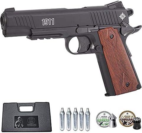 Ecommur. C1911B crosman   Pistola de Aire comprimido y perdigones semiautomática 4,5mm + maletín + 2 Cajas de balines y CO2