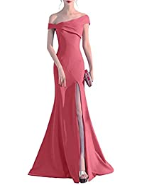 Womens Off Shoulder Prom Dress Mermaid Evening Party Dress With High Split
