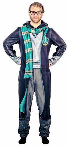 Briefly Stated Harry Potter Slytherin Union Suit Costume Pajama with Hood (Adult Large) -
