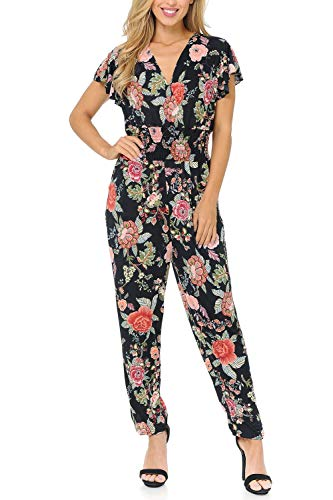 Auliné Collection Womens Short Cap Sleeve V-Neck Long Pants Romper Jumpsuit - Japanese Garden Floral S/M