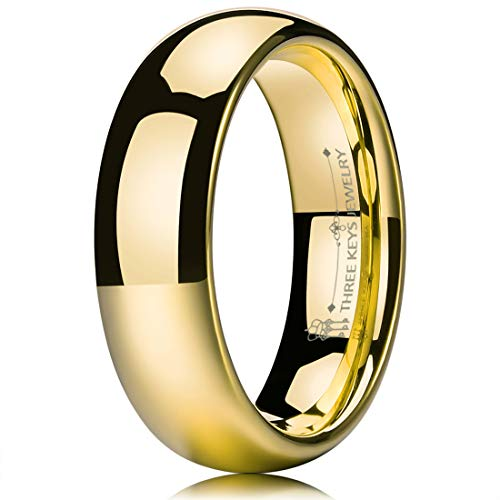 THREE KEYS JEWELRY 6mm Tungsten Carbide Wedding Ring for Women Wedding Band Engagement Ring Comfort Fit Dome Classy 24K Gold Plated Size 7.5 14k Gold Womens Wedding Band 6mm