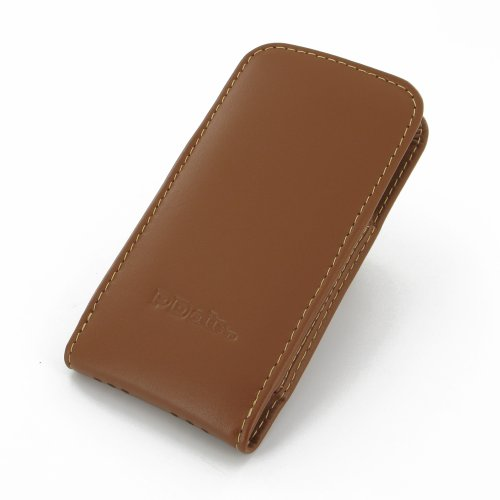 Apple iPhone 5s Leather Case / Cover (Handmade Genuine Leather) - Vertical Pouch Type (NO Belt Clip) (Brown) by Pdair