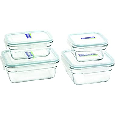 Glasslock 8-Piece Rectangle and Square Assorted Oven Safe Container Set