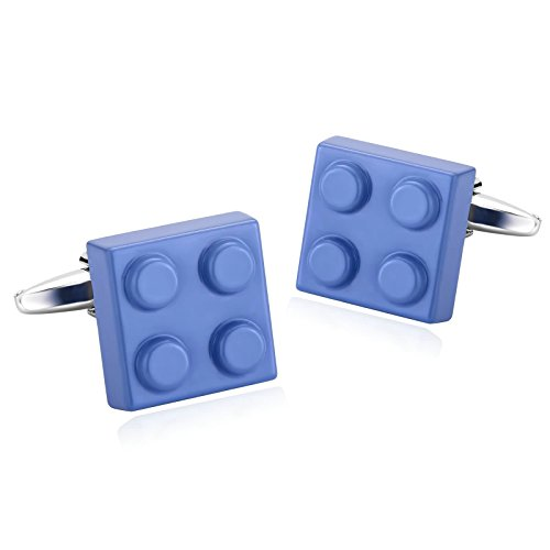 Beydodo Stainless Steel Man French Tuxedo Shirt Cufflinks Blue Building Blocks Unique Business Wedding