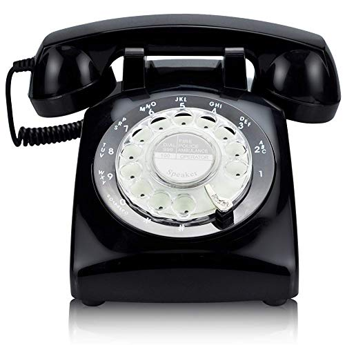 ECVISION Black Color Vintage 1960's Style Rotary Retro Old Fashioned Rotary Dial Home Telephone (Wall Mount Rotary Phone)
