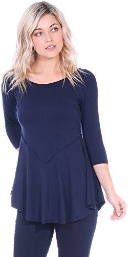 Popana Women's Casual Short 3/4 Sleeve Tunic Tops for Leggings Loose Fit Shirt X-Large Navy (Ruffle Bottom Tunic)