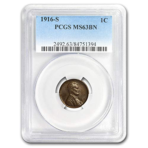 1916 S Lincoln Cent MS-63 PCGS (Brown) Copper MS-63 PCGS