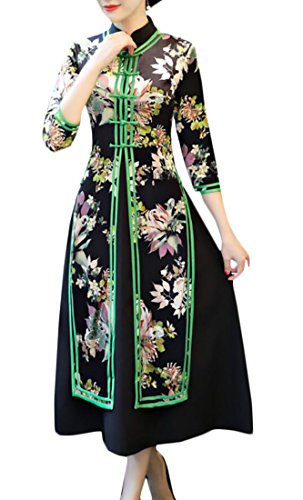 Chinese Style Midi Elegant 5 Sleeve Print Cheongsam Women Dress Alion Qipao 4 3 x6OCUnwq