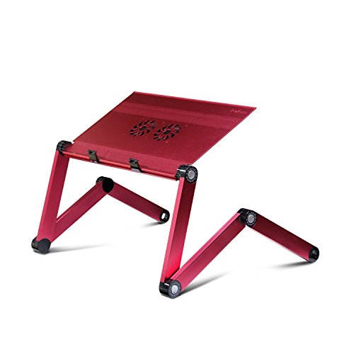 Furinno X7-Pink Aluminum Adjustable Cooler Fan Laptop Table Portable Bed Tray, Pink
