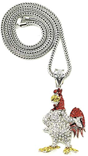 GWOOD Rooster Waka Flocka Pendant Silver Color 36 Inch Franco Necklace