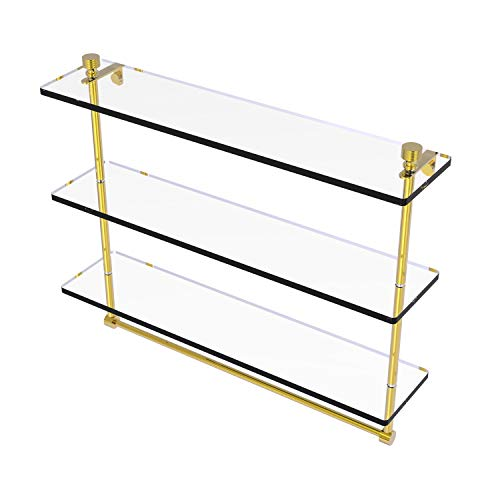 Allied Brass FT-5/22TB Foxtrot Collection 22 Inch Triple Tiered Integrated Towel Bar Glass Shelf, Polished Brass