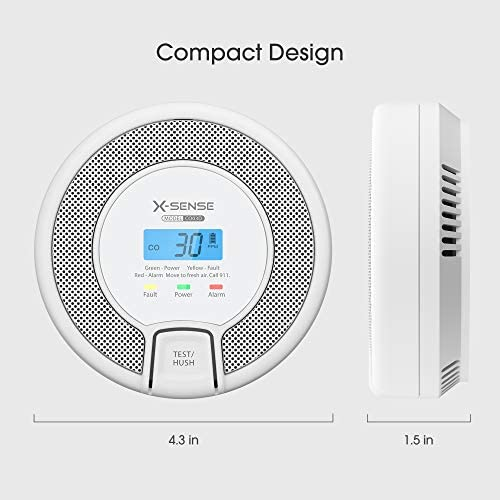 X-Sense Carbon Monoxide Alarm Detector, Replaceable Battery-Operated CO Alarm Detector with LCD Display, Compliant with UL 2034 Standard, CO03D