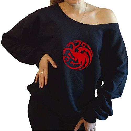 Game Of Thrones Front Sided House Targaryen Slouchy Shoulder Sweatshirt