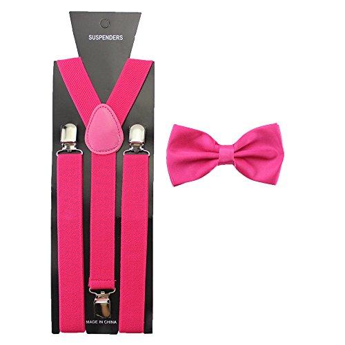 HABI Solid Color Mens Suspender Bow Tie Set Clip On Y Shape Adjustable Braces (Hot Pink) (Ties Hot Pink compare prices)