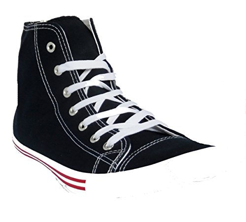 ASOS Mens Boys Navy Blue Plimsolls Trainers Casual Hi Top Boots Navy Blue Red Stripe 0ZRnJ