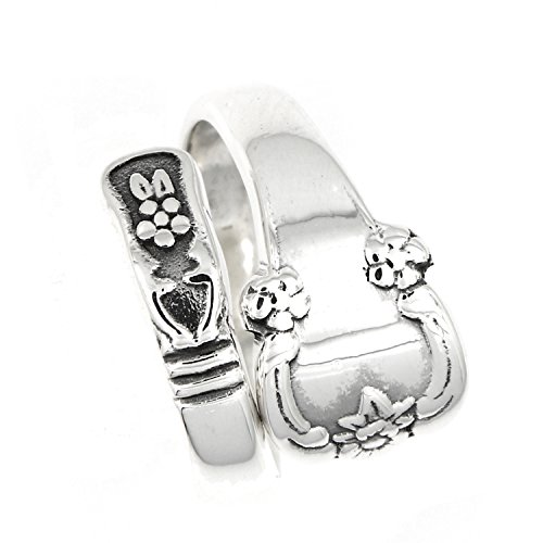 Lgu Sterling Silver Oxidized Adjustable Ornate Traditional Spoon Ring (8)