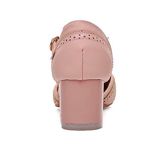 AmoonyFashion Womens Solid PU Kitten-Heels Pointed-Toe Buckle Sandals Pink tNqLdwXA