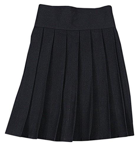 Women's Elastic Waist Solid Plain Pleated School Uniform Cosplay Costume Skirt, Black, Tag XXL = US XL