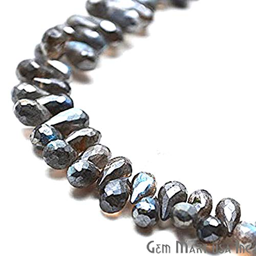 1 Strand Mystique Labradorite Briolette Beads Blue Flash Faceted Gemstone Teardrop 9