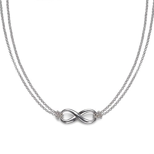Infinity Pendant Necklace with Double Strand Chain (18 (Double Strand Chain Necklace)