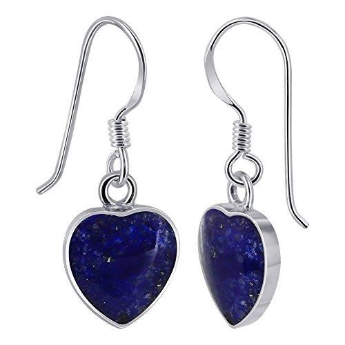 Silver Heart Hook (Gem Avenue 925 Sterling Silver Heart Blue Lapis Lazuli French Hook Drop Earrings)