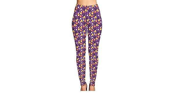 cleaer Halloween Candy Corn On Purple High Waist Yoga Pants ...
